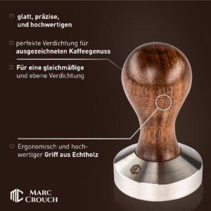 Kaffee Tamper Set 51mm inkl. Silikonmatte + 3 Kaffee Dekoschablonen/Stencils aus Edelstahl
